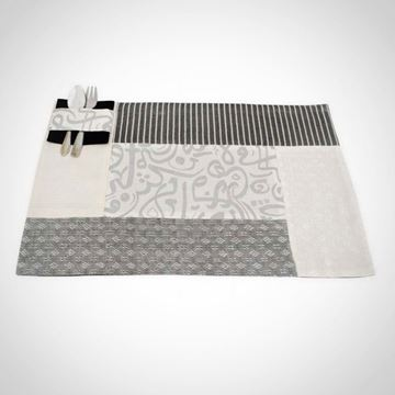 Picture of Set of 6 Silver Patchwork Calligraphy placemats and cutlery holders