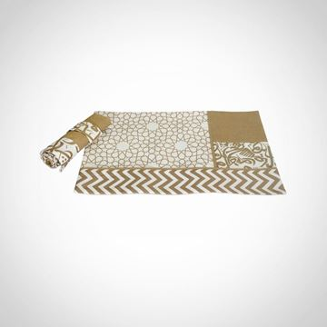 Picture of Set of 6 Golden Patchwork Calligraphy placemats and cutlery holders