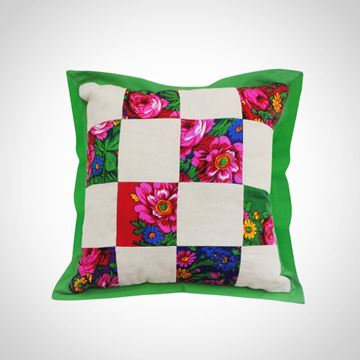 Picture of Linen and floral 'Baboushka' fabric patchwork cushion