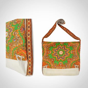 Picture of Colourful linen messenger bag in green