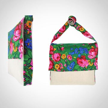 Picture of Linen floral design messenger bag in green