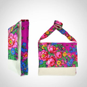Picture of Linen floral design messenger bag in fuschia