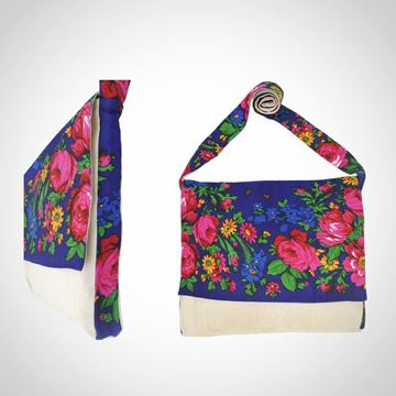Picture of Linen floral design messenger bag in blue