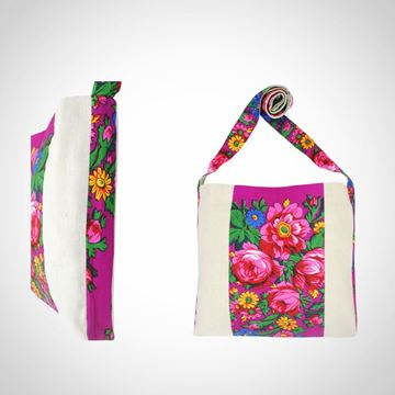 Picture of Linen floral design messenger bag in fuschia with plain border