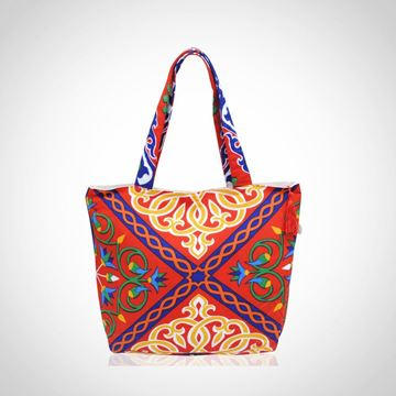 Picture of 'Khayameya' (traditional tent fabric design) tote bag