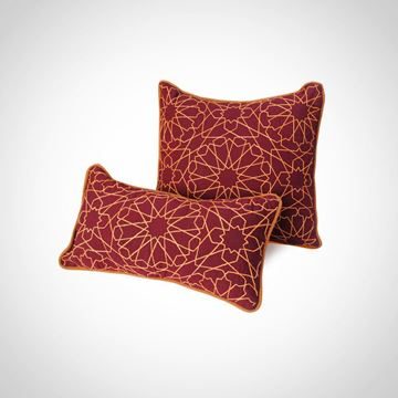 Picture of Arabe  design cushion square shaped in red with orange, Size: 41x41cm , Arabe design cushion rectangle shaped in red with orange,Size: 46x26cm