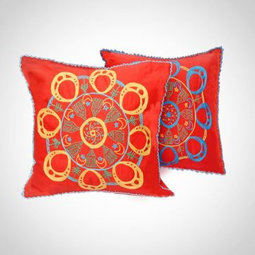 Picture of Circular Nubian earring design cushion - two colors (blue & yellow) Size: 55x55cm