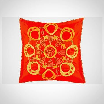 Picture of Circular Nubian earring design cushion - in one color (red with orange) Size: 55x55cm