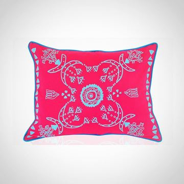 Picture of Rectangular shape Nubian cushion, in hot pink with blue, Size: 55x45cm