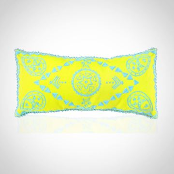 Picture of Oval earring design cushion, with beads frame (green apple with blue), Size: 48x24cm