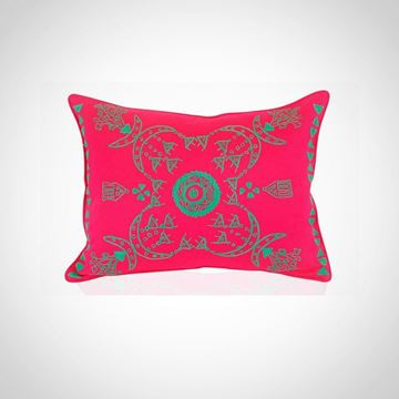 Picture of Rectangular shape Nubian cushion, in hot pink with green, Size: 55x45cm