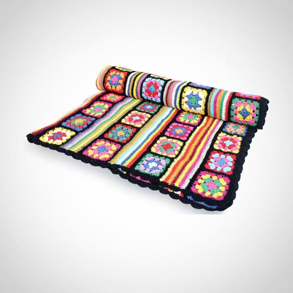 Picture of Patchwork plus strips cotton blanket 1.5x1.5
