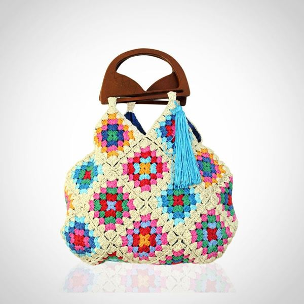 Picture of Crochet & jeans double face bag with wood hand in beige