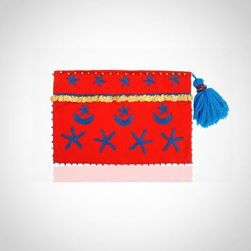 Picture of Crescent & star pouch, in red with blue L 22 * W 28 cm