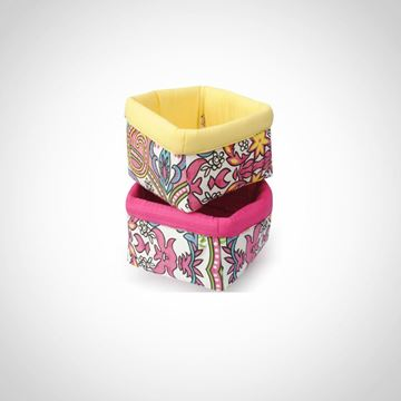 Picture of Box-shaped bread basket in yellow & hot pink