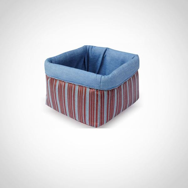 Picture of Box-shaped bread basket in Jeans with stripes