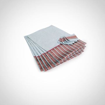 Picture of set of 6 placemats in silver with stripes