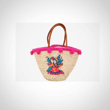 Picture of 'Straw beach bag with boy and girl (front & back) ('offa')