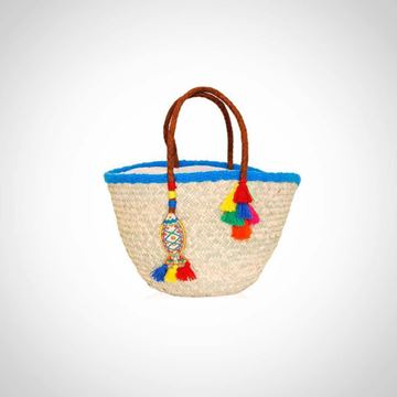 Picture of 'Straw beach bag with natural leather handle ('offa')