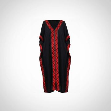 Picture of Black kaftan with red cross stitches