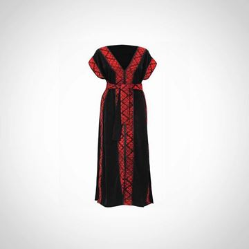 Picture of Black kaftan with red cross stitches and a belt