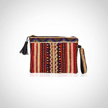 Picture of Embroidered mini leather clutch