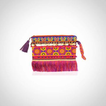 Picture of Leather fringed purple clutch