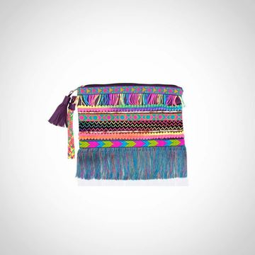 Picture of Leather fringed neon clutch