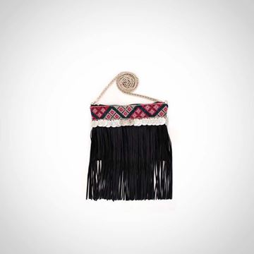 Picture of Cross body leather fringed black bag with pom coins