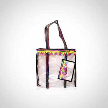 Picture of See-through beach bag with neon poms and small case attached