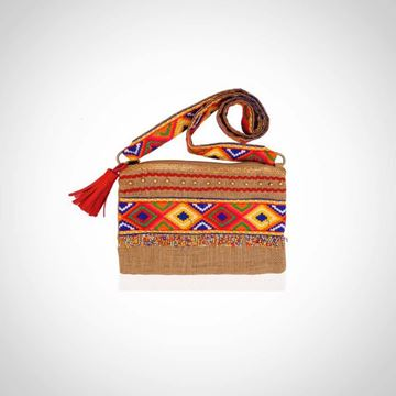 Picture of Cross body weaved and emroidered bag