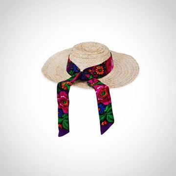 Picture of Hat with flower patterned strap