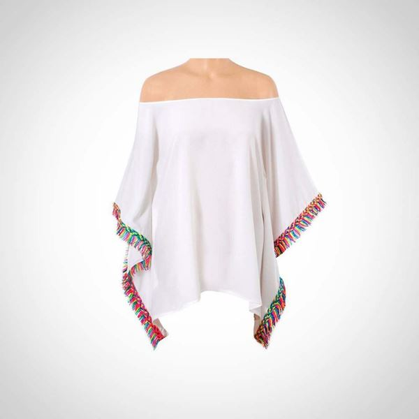 Picture of White Blouse with neon tassels