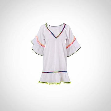 Picture of White dress with colored poms