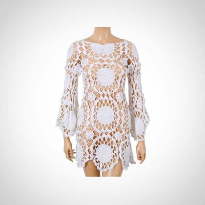 Picture of White crochet cache maillot