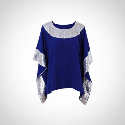 Picture of Electric blue summer top with silver paillettes