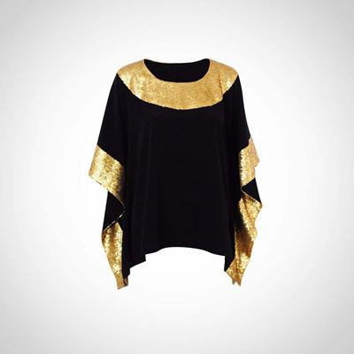 Picture of Black summer top with gold paillettes