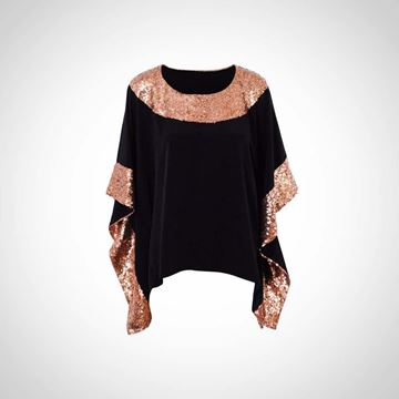 Picture of White summer top with bronze paillettes
