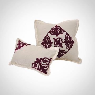 Picture of Off-white square cushion with burgundy islamic design