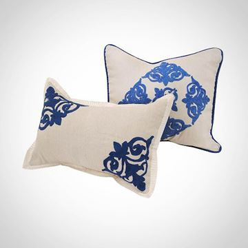 Picture of Off-white rectangular cushion with blue islamic design