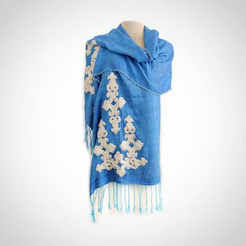 Picture of Baby blue shawl with beaded  edges (45cm)