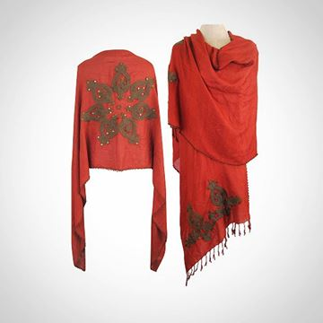 Picture of Red shawl with beaded edges (65 cm)