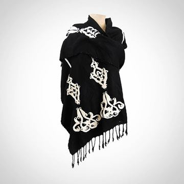 Picture of Black shawl with beaded edges (80 cm)