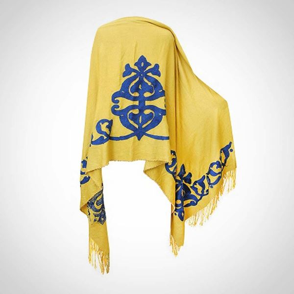 Picture of Mustard shawl with beaded edges (80 cm)