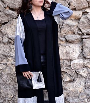 Picture of Black Kaftan with grey and silver Islamic design