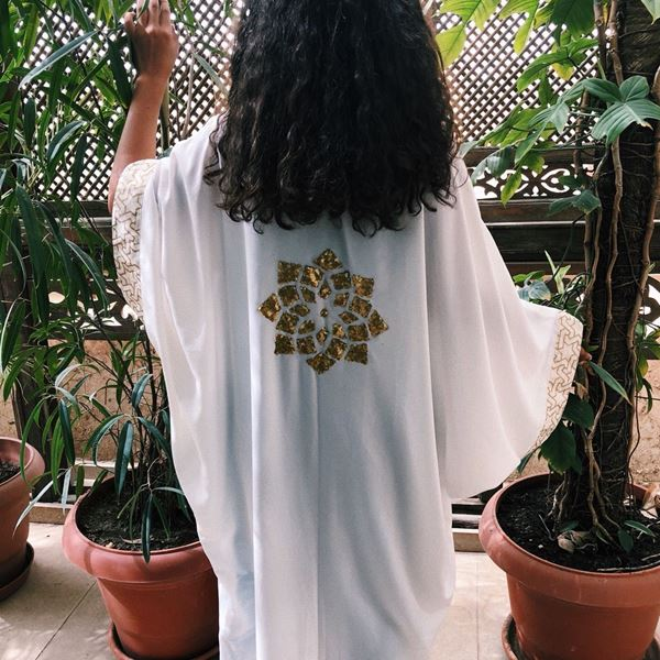 Picture of White Kaftan with gold Islamic design