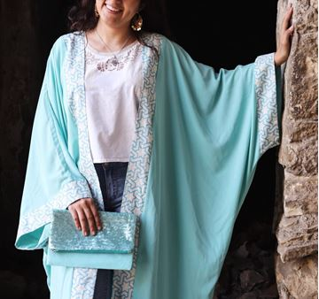 Picture of Turquoise Kaftan with turquoise Islamic design