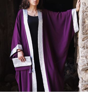 Picture of Purple Kaftan with silver paillettes