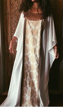 Picture of Offwhite Abaya with islamic pattern and sparkling beads