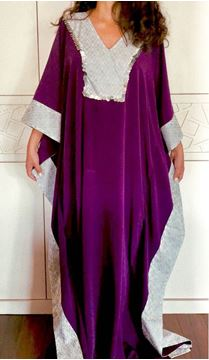 Picture of Mauve Abaya with silver islamic pattern